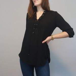 3 for $36 Black Lace-up Dressy Blouse